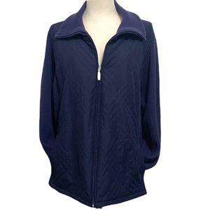 Ladies Cozy CROFT & BARROW Dark Blue Zip Up Jacket